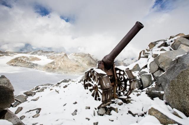 Gruppo Adamello, Cresta Croce, cannone 149 G italiano sparava sul Corno di Cavento